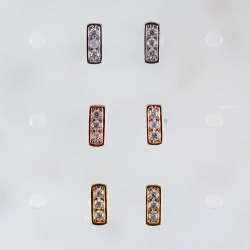 3 CZ Bar Earrings in Rose Gold Or Silver Fashion Earrings Trendy Earrings CZ Earrings