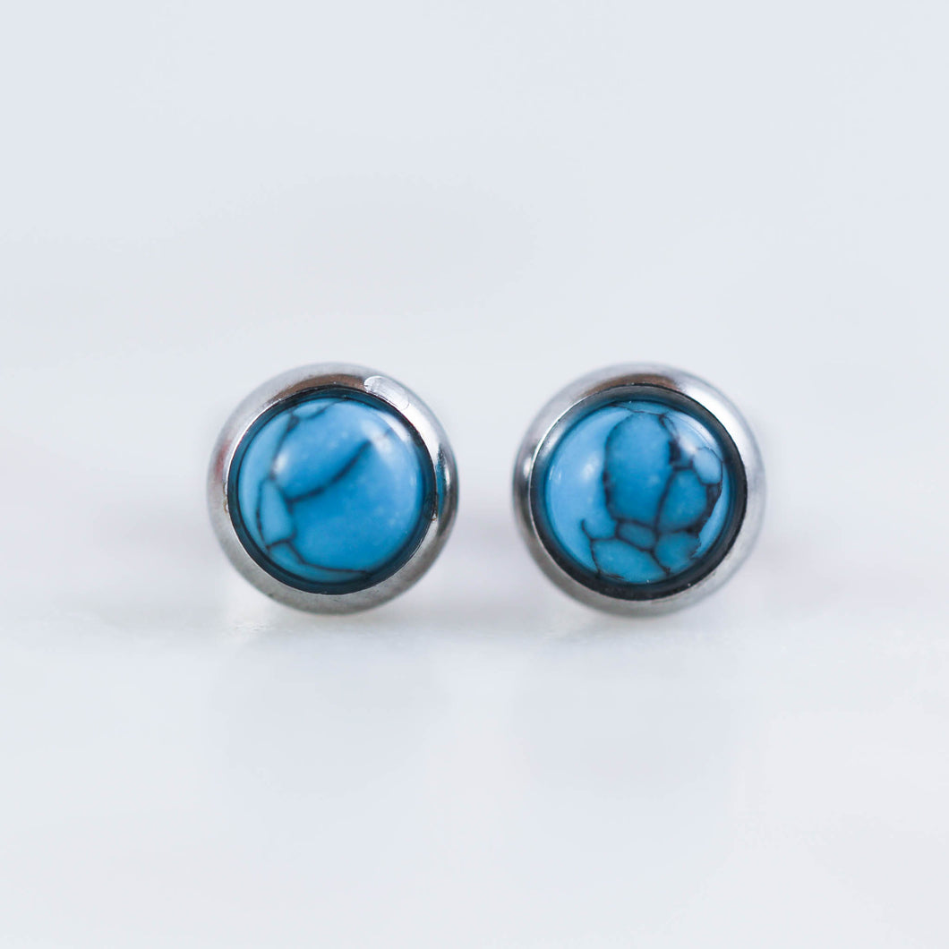 Turquoise Earrings Fashion Earrings Round Turquoise Earrings