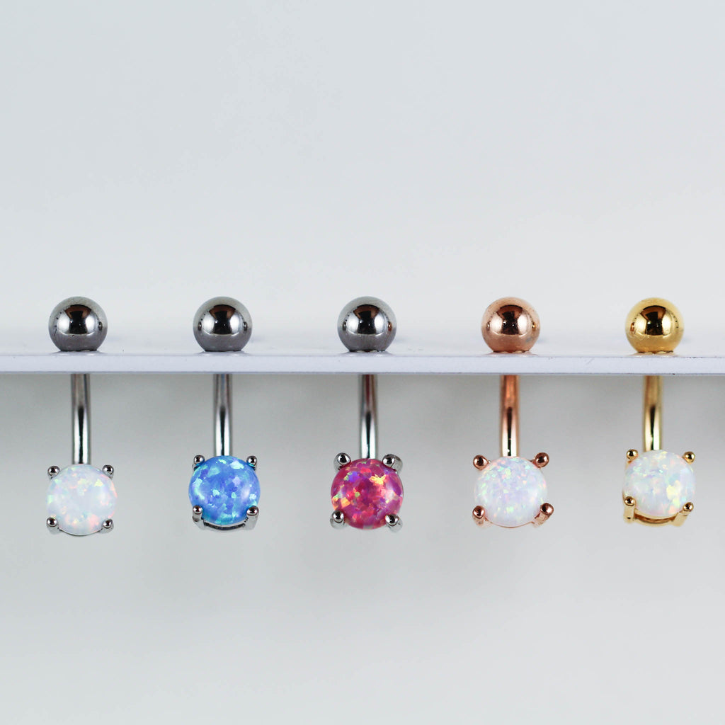 Set of Opal Belly Rings Piercing Jewelry with a White Opal Belly Ring, Blue Opal Belly Ring, Pink Opal Belly Ring, and Rose Gold and Gold Opal Navel Piercings