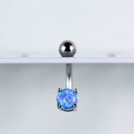 Blue Opal Belly Ring Hanging On Navel Piercing Jewelry Display