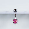 Pink Opal Belly Ring Displayed on Navel Piercing Jewelry Rack