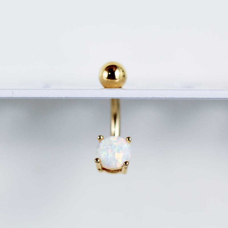 Gold Opal Belly Ring on White Navel Piercing Display