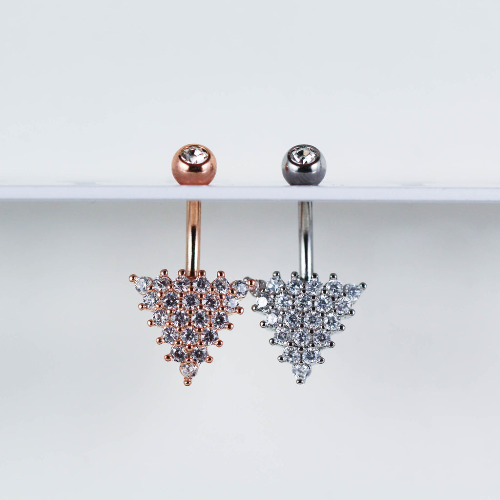 Triangle Belly Button Ring, Rose Gold Belly Button Ring and Silver Belly  Button Ring