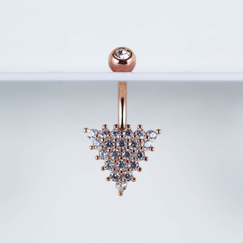 Triangle Belly Button Ring in Rose Gold Crystal Naval Piercing