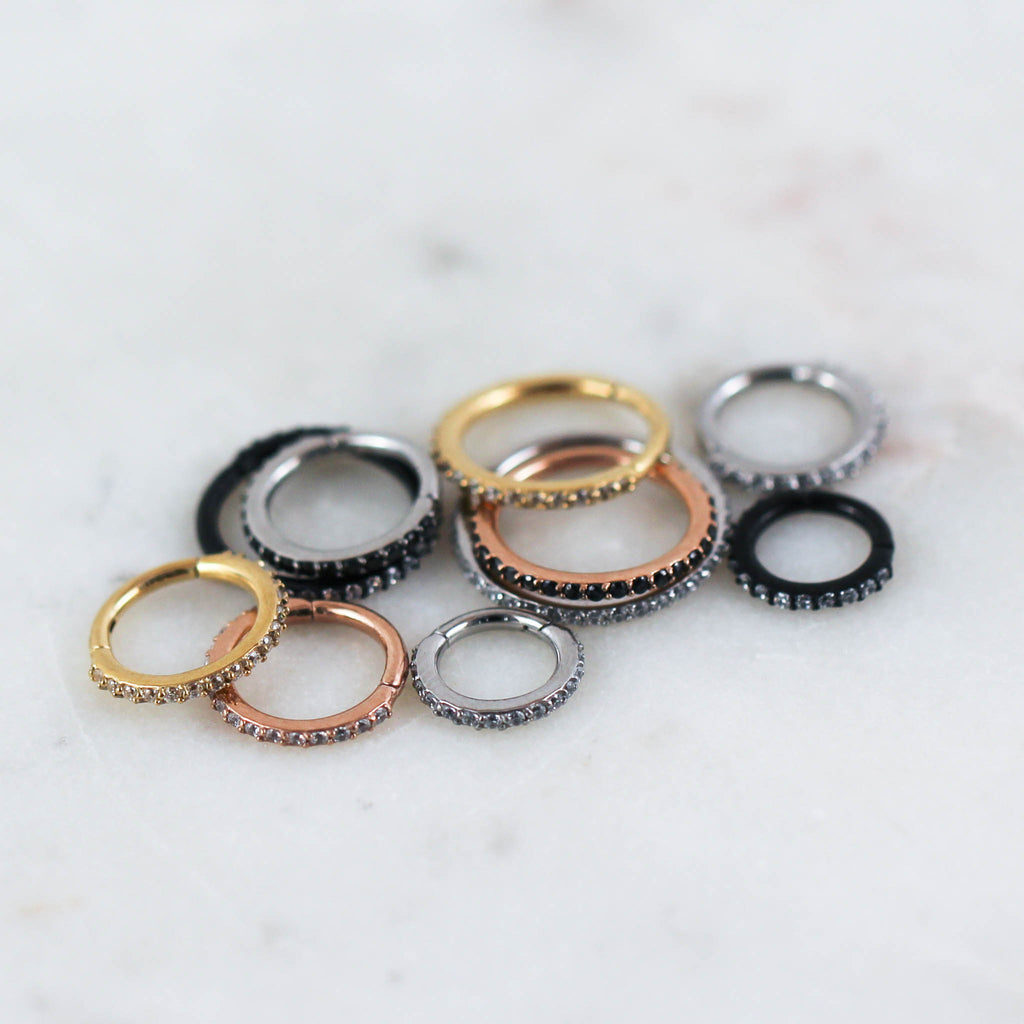 Crystal Paved Hinged Seam Ring