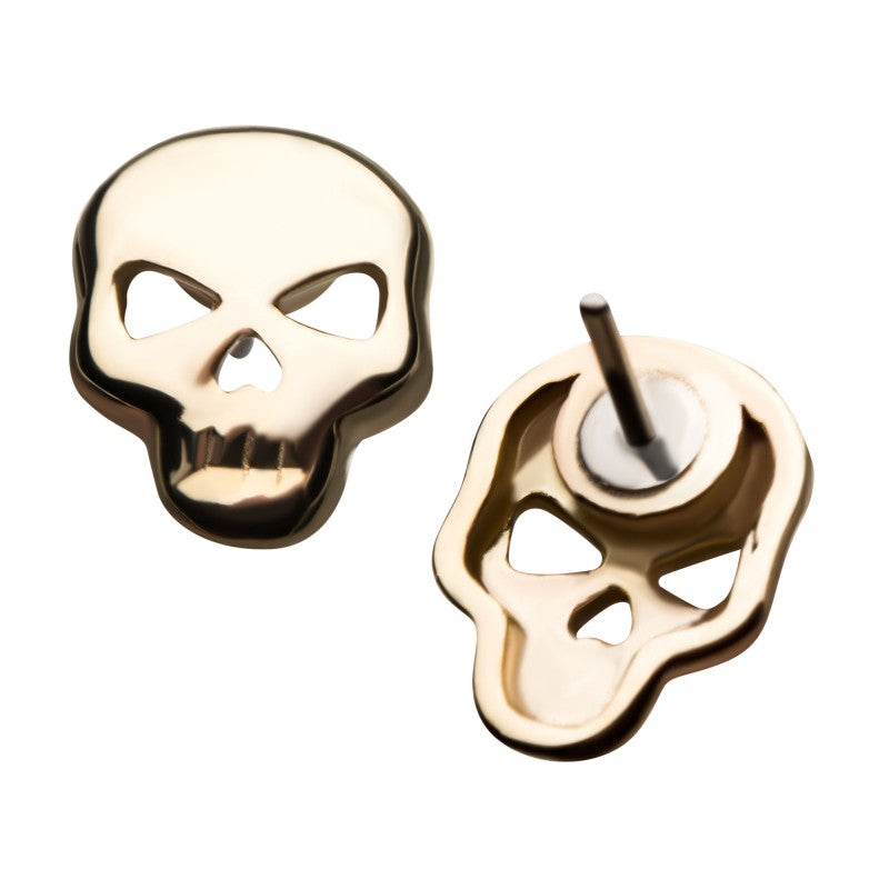 14kt Gold Threadless Skull Labret CUSTOM ORDER