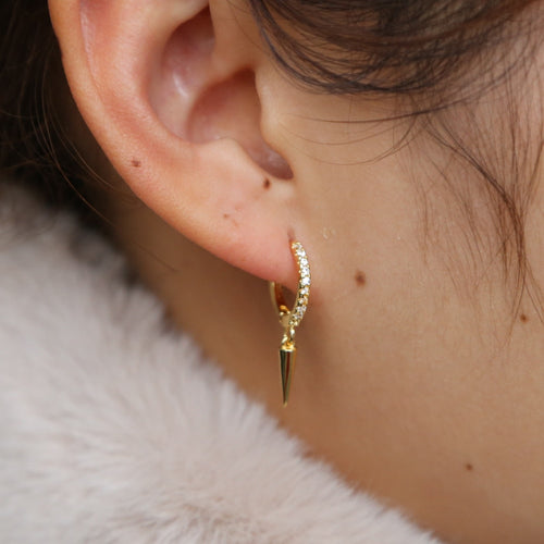 Maya Spike Huggie Hoop Earrings (Pair)