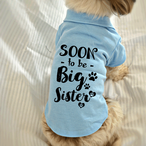 Soon to Be Big Sister Dog Polo T-Shirt. Cute Dog Clothes.