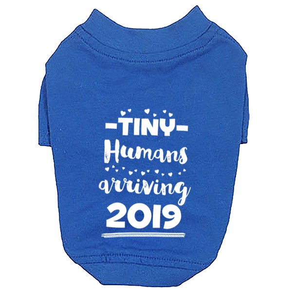 Tiny Humans Arriving 2019 Dog T-Shirt Twins Announcement