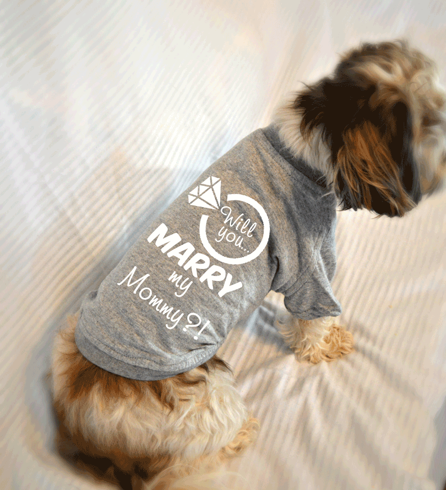 Will You Marry My Mommy Dog T-Shirt. Marriage Proposal Idea.