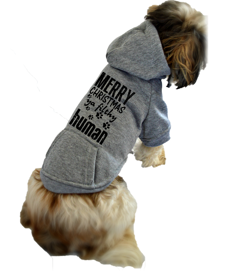 Merry Christmas Ya Filthy Human Small Dog Sweatshirt