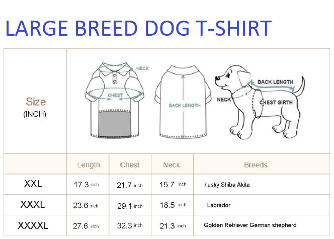 Upgrade from Smaller Breed Dog T-Shirt to Larger Breed Dog T-Shirt