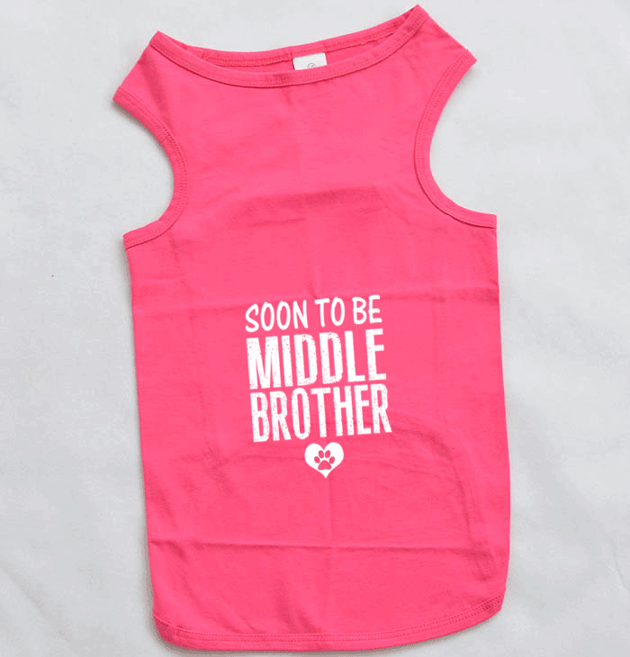 Soon To Be Middle Brother Dog Tank Top for Large Breed