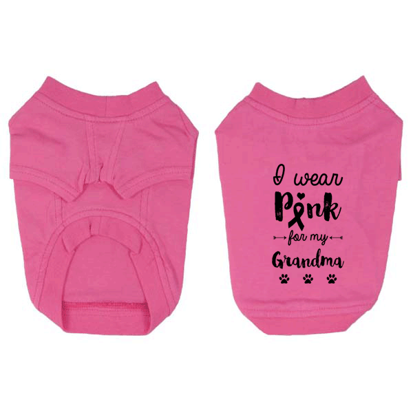I Wear Pink for my Grandma Small Dog T-Shirt