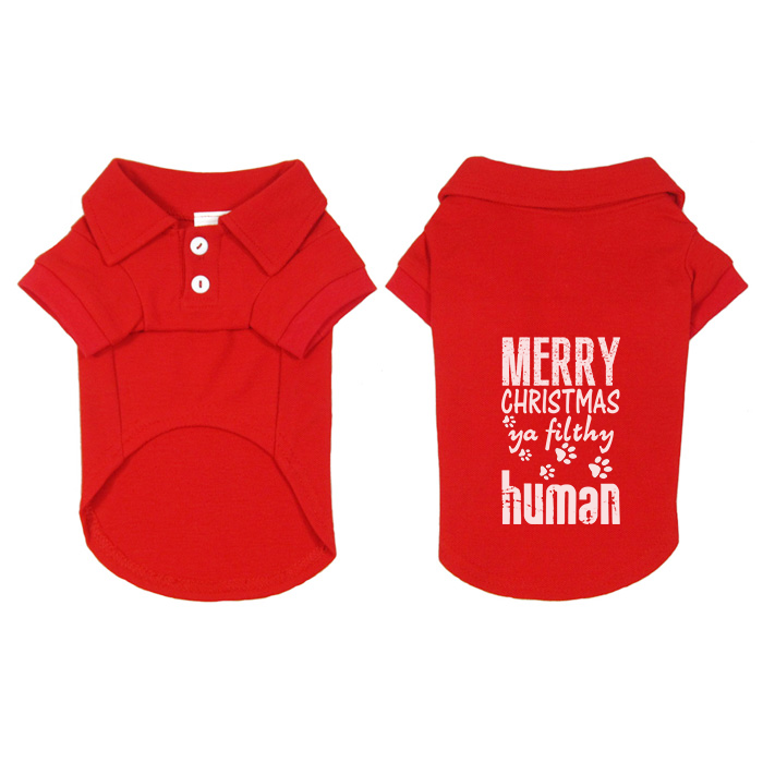 Merry Christmas Ya Filthy Human Small Pet Polo Dog Shirt