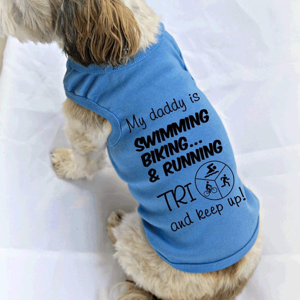 Dog Cheering Dad Tri and Keep Up Triathlon Dog Tank Top
