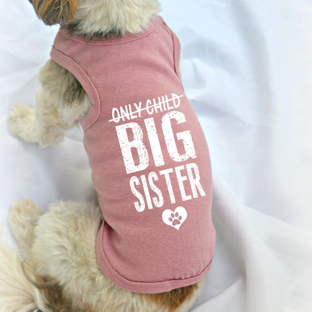 Only Child Big Sister Pregnancy Reveal Dog Tank Top