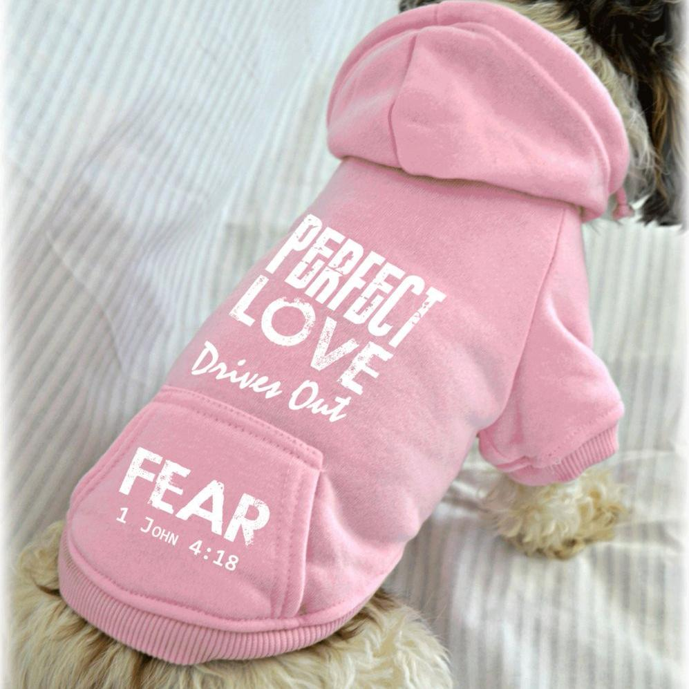 Perfect Love Drives Out Fear 1 John 4:18 Bible Verse Dog Sweatshirt