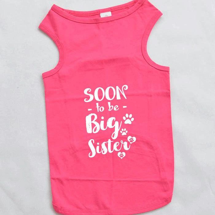 Soon To Be Big Sister Large Breed Dog Tank Top. Whimsical Design.