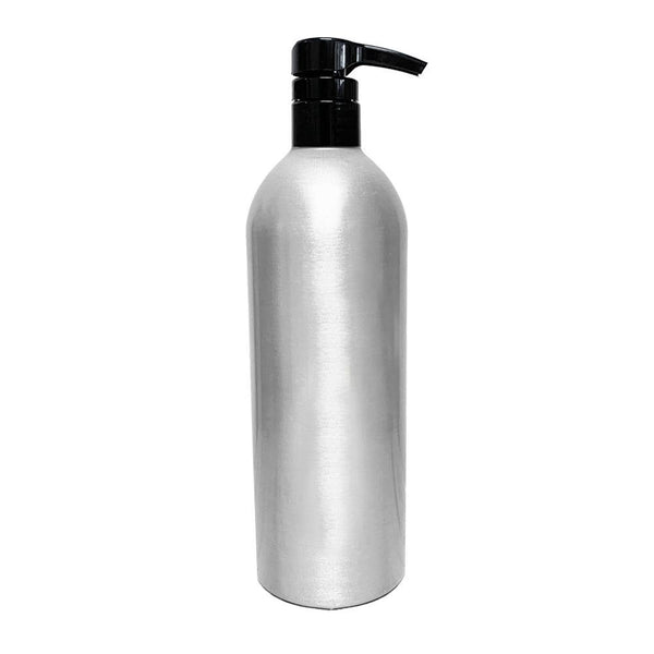 Product image of a 16oz Aluminum bottle with a black pump top
