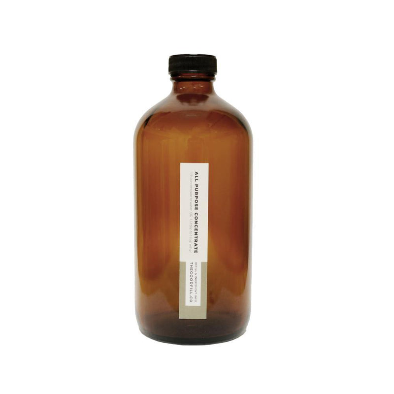 Product image of a 16oz glass amber bottle with a black screw on lid for zero waste all purpose concentrate refills.
