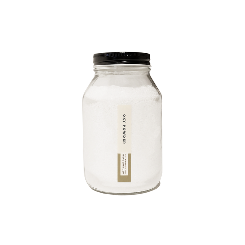 Product image of a clear glass 16oz refill mason jar that is filled with white oxy powder and has a black recyclable aluminum screw on lid.