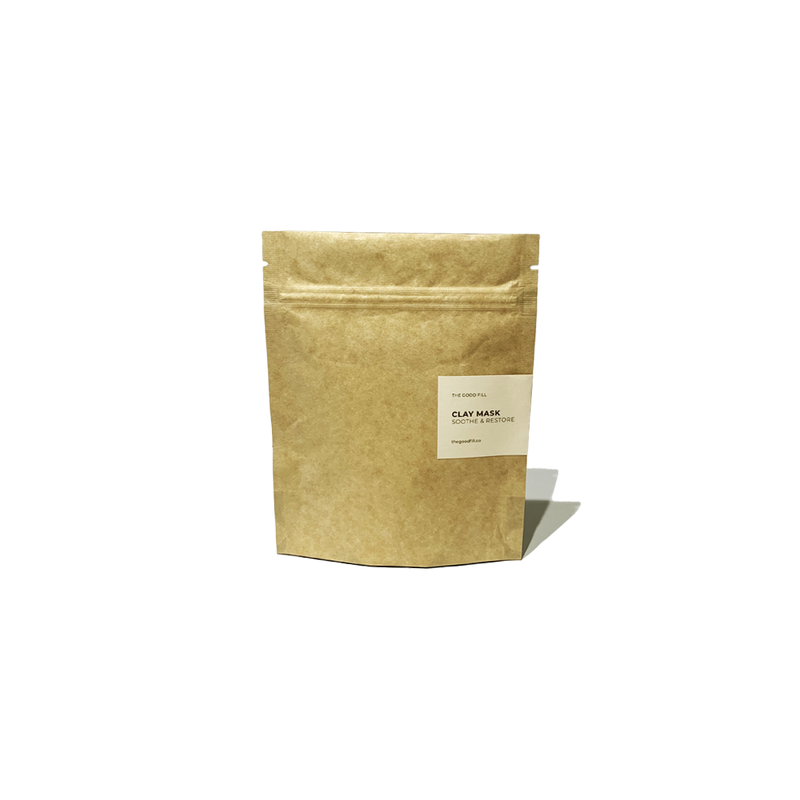 Product image of a 4oz compostable paper packet for zero waste clay mask refills.