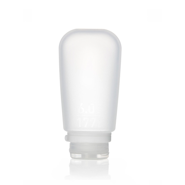 Product image of a 6oz. clear squeezable silicone GoToob for zero waste on the go activities.