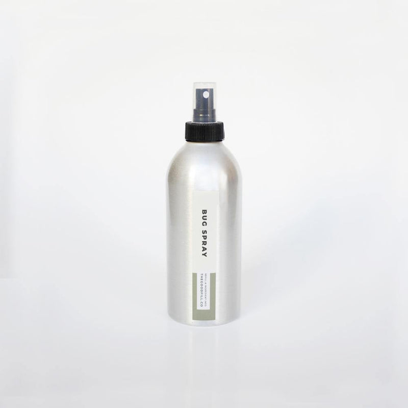 product image of 8oz. aluminum bottle with black spray top for zero waste bug spray refills