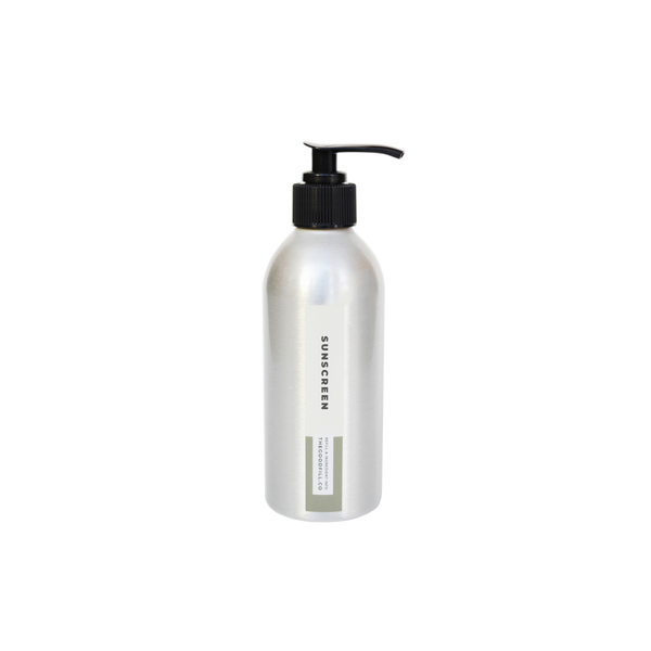 Product image of an 8oz aluminum bottle with a black pump top for zero waste green tea sunscreen refills.