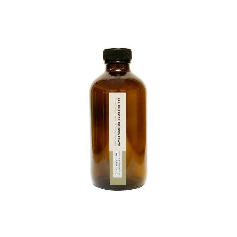 Product image of a 8oz glass amber bottle with a black screw on lid for zero waste all purpose concentrate refills.