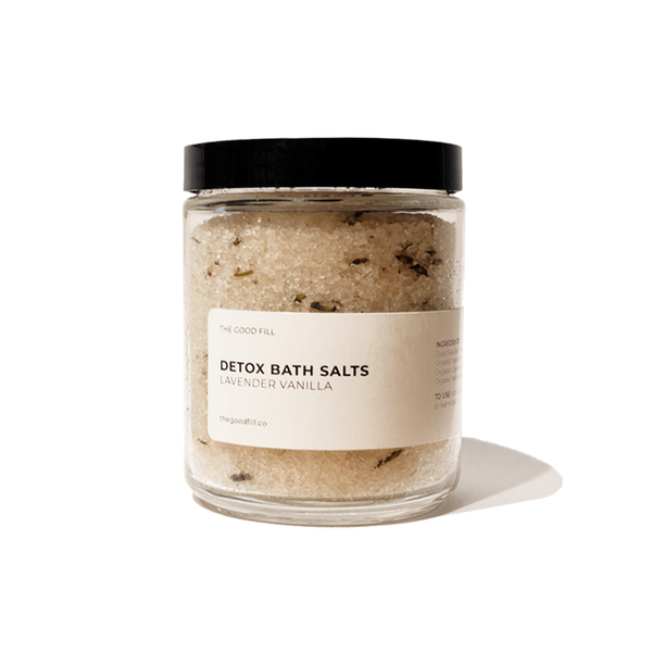 Product image of an 8oz. re-usable clear Good Fill glass jar filled with lavender vanilla Detox Bath Salts. The lid is a black twist-on lid.