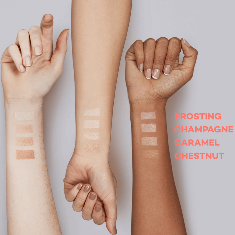 Up close image of three women's different skin toned arms. There are swatches of balmie colors on their arm, showcasing how different balmie colors work with different skin tones.