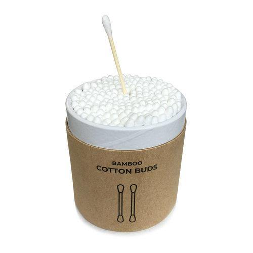product image of white bamboo cotton buds in a brown, round kraft paper container.