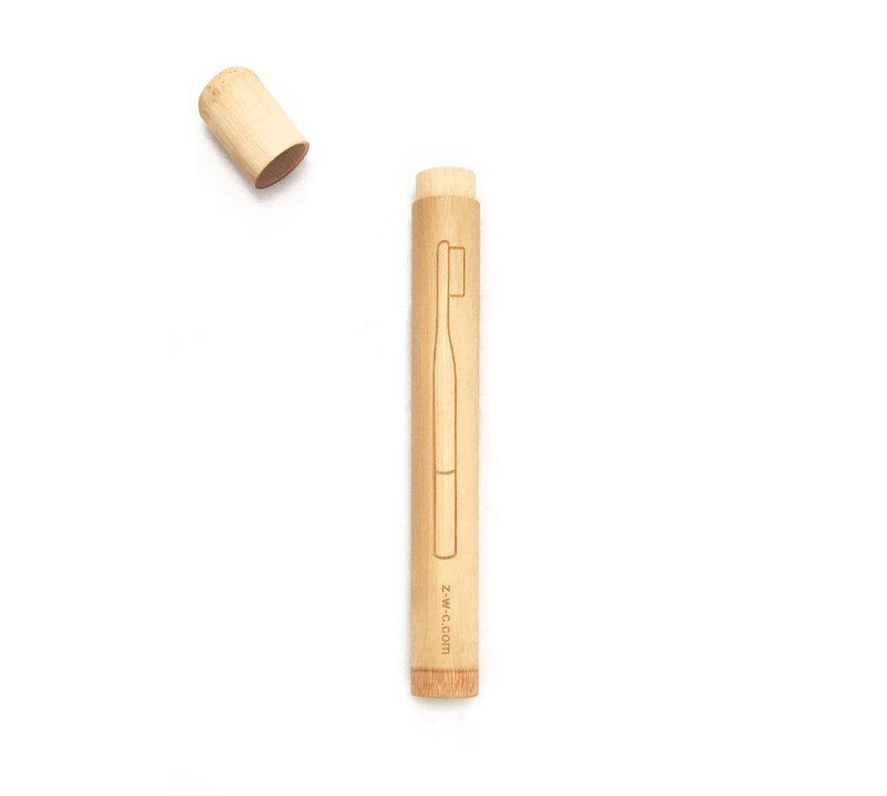 product image of a zero waste natural bamboo toothbrush holder that is round with a pull-off lid