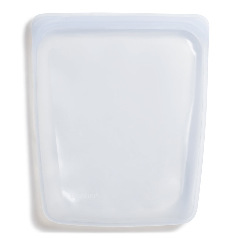 product image of a zero waste, clear gallon size stasher bag sitting on a white background.