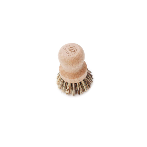package free natural wood pot brush with natural brown bristles