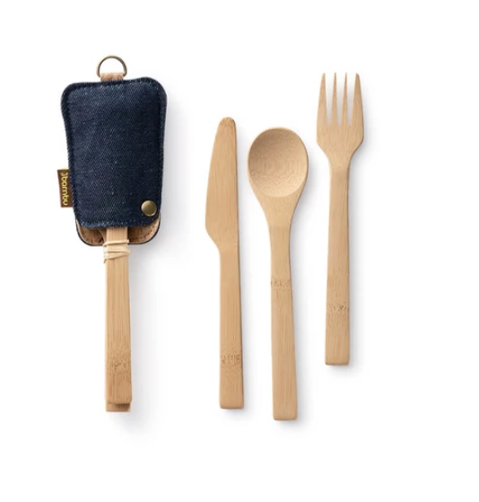 natural bamboo knife spoon and fork shown in a dark denim cloth sheath