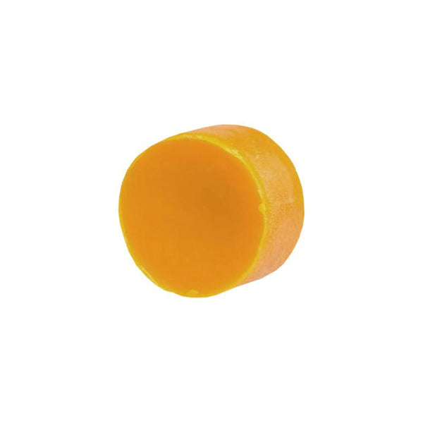 Product image of a round, orange colored zero-waste deep conditioner bar.