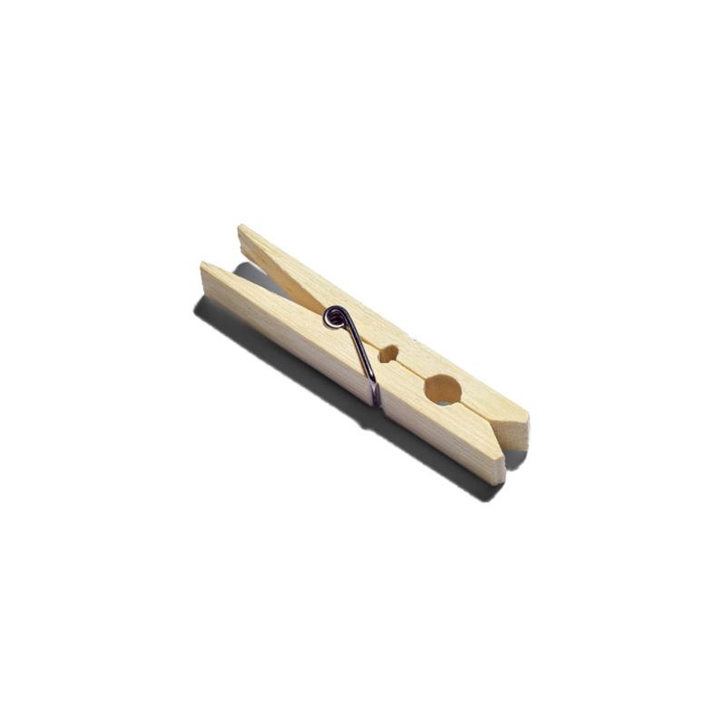 Product image of a single bamboo clothing clip. The clip is a natural wood color.