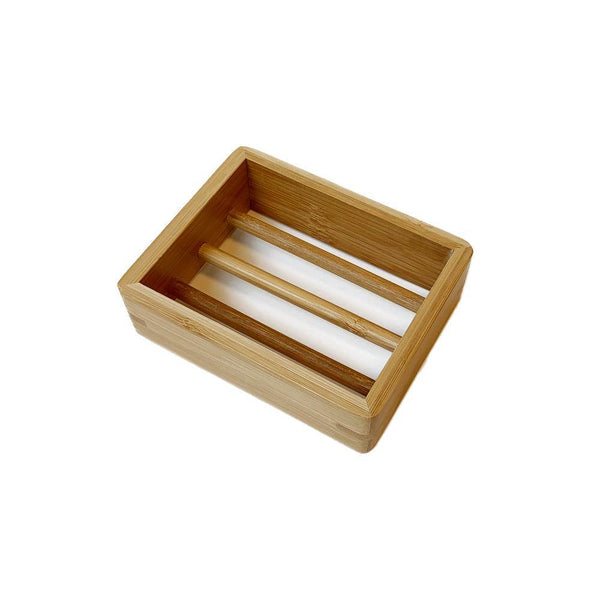product shot of brown, rectangle bamboo soap dish.