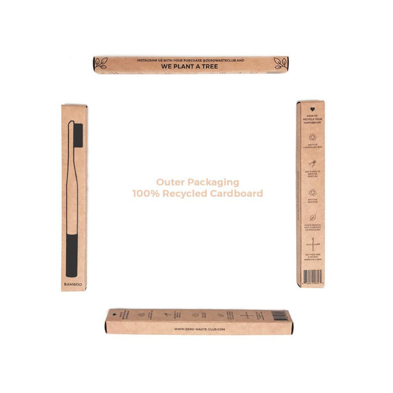 image of four 100% brown recyclable toothbrush packaging boxes