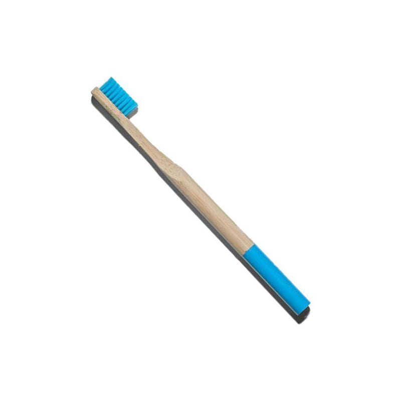 product image of a zero waste adult natural bamboo toothbrush with blue bristles and a blue dipped handle