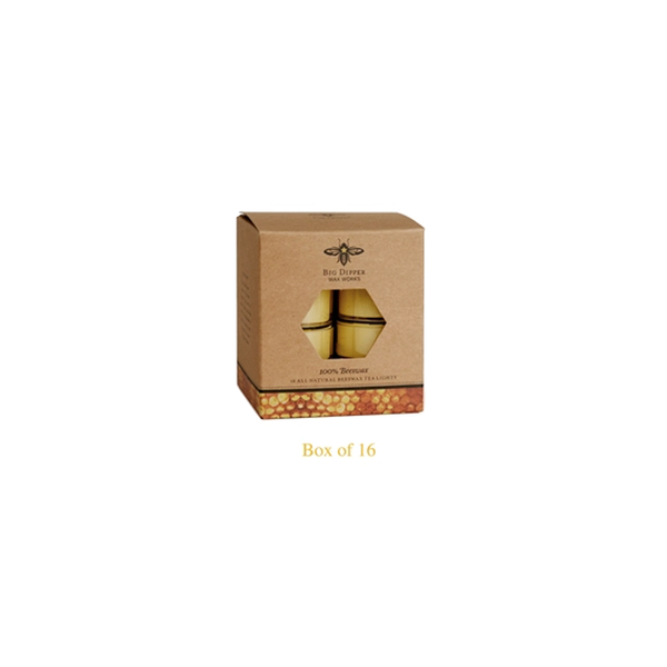 Sixteen pack of yellow all natural beeswax candles in a brown kraft paper box.