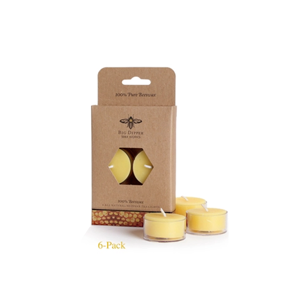 Six pack of yellow all natural beeswax candles in a brown kraft paper box.