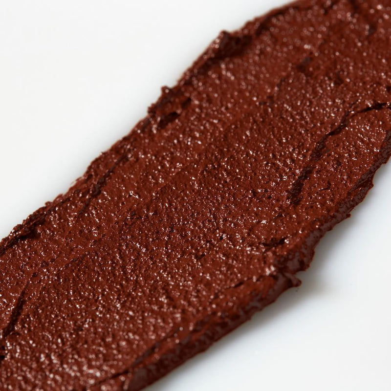 Product image of a dark red balmie color smeared across a white background