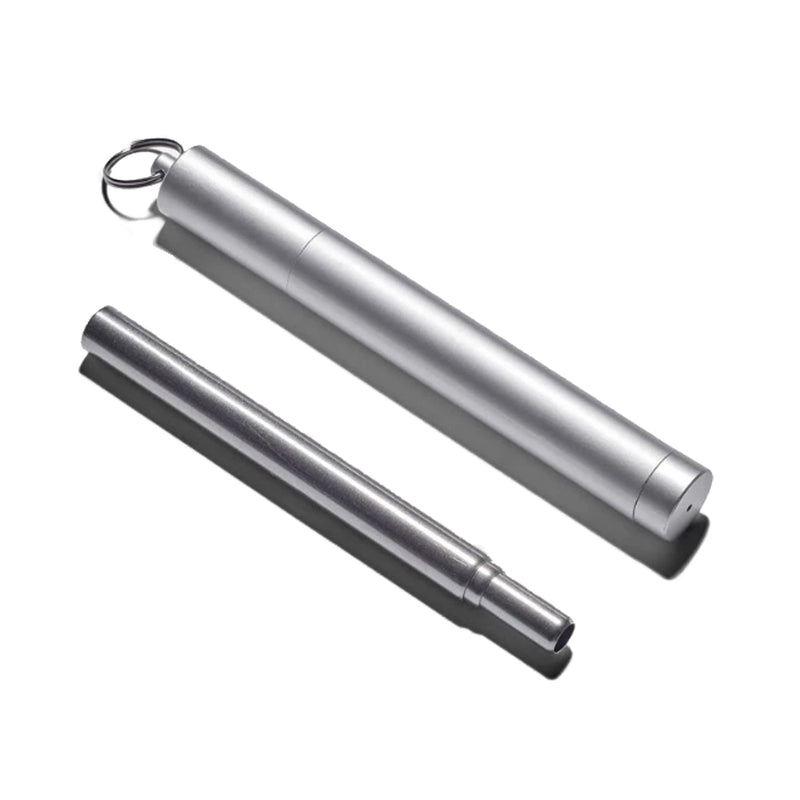 product image of a silver collapsible stainless steel straw with a silver stainless steel case that twists open and has a key ring on the end.