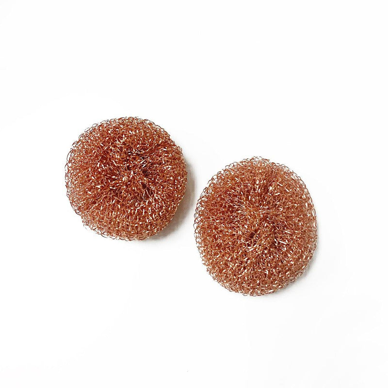 two round copper scrubbers without small paper wrapper