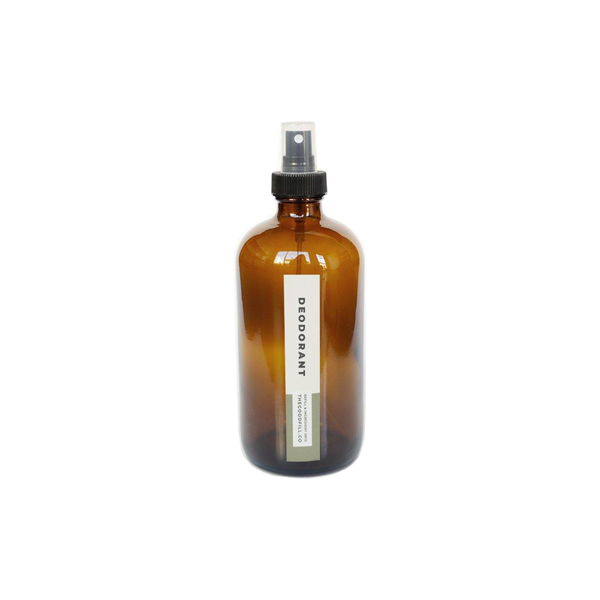 Product image of a 8oz glass amber bottle with a black spray top for zero waste deodorant refills.