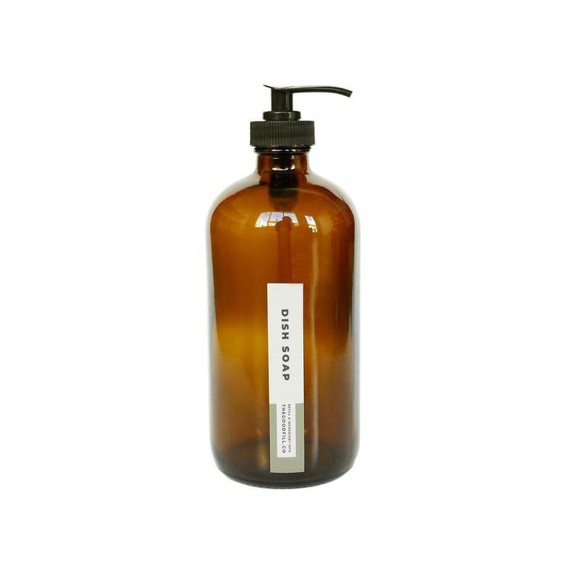 Product image of a 16oz glass amber bottle with a black pump top for zero waste dish soap refills.